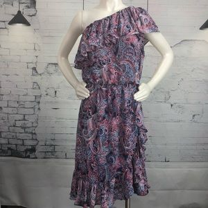 Parker One Shoulder Paisley Ruffled  Dress 1584